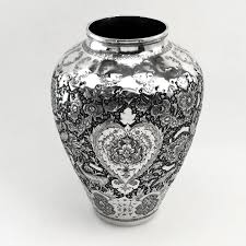 antique persian isfarhan solid silver vase c 1890 iranian silver