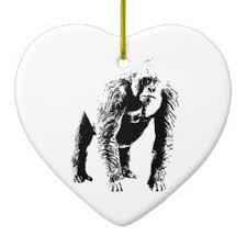 black white running gorilla ornaments keepsake ornaments zazzle