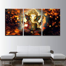 modular picture framework 3 panel elephant poster print canvas painting lord ganesha wall art for living