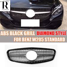 diamond benz w205 abs black diamond style front grill grille for benz w205 c180