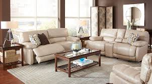 Reclining Living Room Set Home Auburn Taupe Leather 5 Pc Reclining