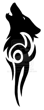 collection of 25 wolf tribal stencil