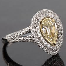 Pear Shaped Wedding Ring by 1 76 Tcw Natural Fancy Yellow Pear Shaped Diamond Double Halo