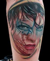 zombie face tattoo design tattoos book 65 000 tattoos designs