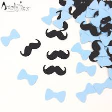 mustache and bow tie baby shower mustache bow tie confetti baby blue party cutouts boy