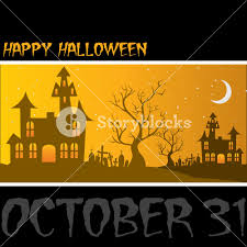 haunted house happy halloween card in vector format royalty free