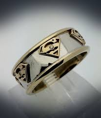superman wedding band white gold and yellow gold superman band by paulmichaeldesign