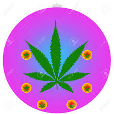 an isolated ornament with a marijuana leaf icon