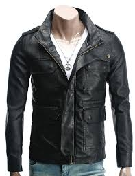 mens leather biker jacket handmade custom new men unique front four strap pockets leather