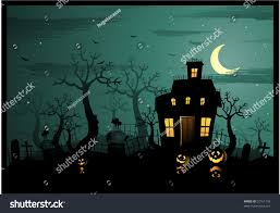 horizontal halloween illustration haunted house graveyard stock