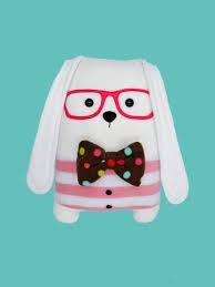 bunny soft pillow nerdy weird plush toy home decor nursery