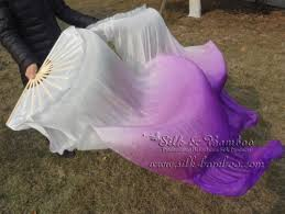 silk fans 1 5m 0 9m white purple belly silk fan veil white purple