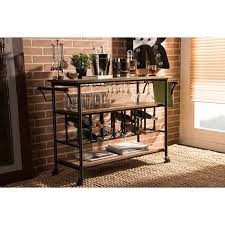 Dining Room Cart by Baxton Studio Alera Rustic Industrial Mobile Serving Bar Cart