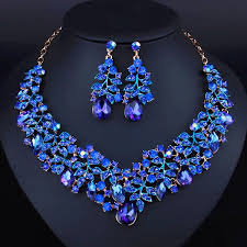 sapphire earrings necklace set images 2018 simple style africa jewelry set royal blue noble necklace jpg