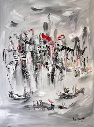 Tableau Abstrait Rouge Et Gris by Tableau Abstrait Contemporain Gris Noir Blanc Rouge Et Argent L