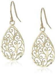 gold teardrop earrings 14k yellow gold filigree teardrop earrings jewelry