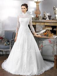 modest lace high neck three quarter sleeves a line wedding dress