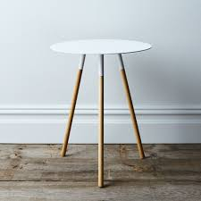 steel and wood table steel wood round side table on food52