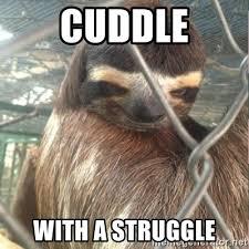 Sloth Meme Maker - cuddle with a struggle creepy sloth rape meme generator