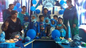 akshara vidyalaya blue colour day celebrations