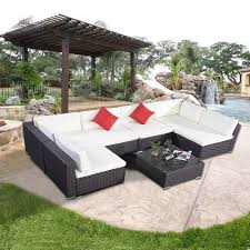 Used Patio Furniture Sets by Luxury Outdoor Garden U Shape Corner Sofa Set Group Brown Rattan