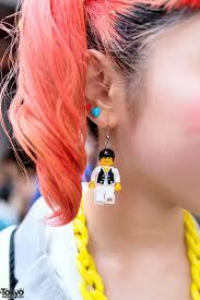school earrings orange tails sailor fuku lego earrings in harajuku