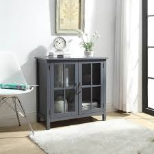 olivia grey accent cabinet with 2 glass doors sk19087c2 gy the