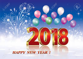 new years backdrop happy new year of 2018 against the backdrop of fireworks and