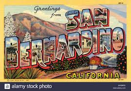 greetings from san bernardino california postcard 1943 stock