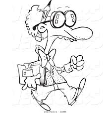 vector of a cartoon goofy professor coloring page outline by