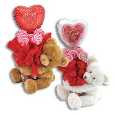 valentines teddy bears teddy kelliloons with lollipops and candy in