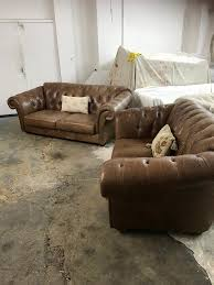 used chesterfield sofa pair of 3 2 seater chestnut brown leather chesterfield sofas in