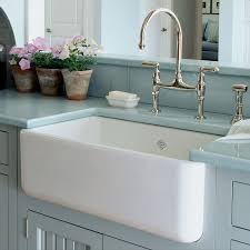 Cheap Kitchen Sinks by Rustic White Porcelain Kitchen Sink With Curved Faucet And Tile