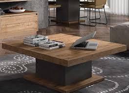 Wohnzimmertisch Holz Quadratisch Couchtisch Eiche Massiv Quadratisch Säulengestell Robust