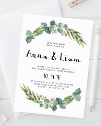 eucalyptus wedding invitation template watercolor greenery