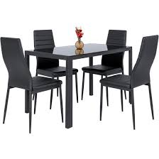 glass top dining room set best choice products 5 piece kitchen dining table set w glass top