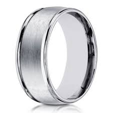 satin finish ring 14k men s white gold designer wedding band 8mm width