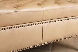 leather storage ottoman tan beige rectangle tufted nailhead living