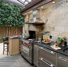 luxury kitchen ideas with rustic grey wooden deck with modern