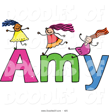 free doodle name vector clipart of a childs sketch of happy on the