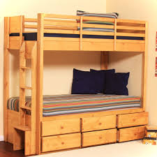 wooden bunk beds with stairs