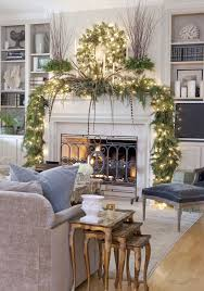 living room gold and blue christmas tree natural stone fireplace