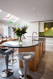 spectacular kitchen island curved overhang with modern grey swivel