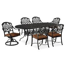 7 Piece Aluminum Patio Dining Set - shop home styles floral blossom 7 piece charcoal aluminum patio