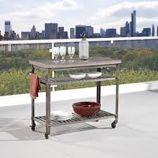 home styles urban style aged metal kitchen cart with concrete top