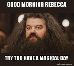 Rebecca Meme - good morning rebecca try too have a magical day hagrid i
