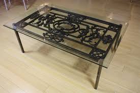 glass top cocktail table french wrought iron and glass top coffee table wrought iron iron