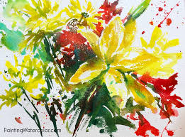 kitchen table flowers sketch watercolor painting tutorial