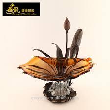 luxury hand blown european brown crystal fruit bowl decorative