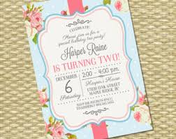 1st birthday invitation shabby chic tea party vintage